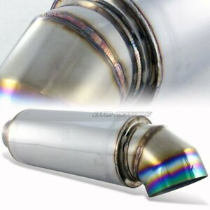 4 Rainbow Burnt Knife Style Tip Stainless Weld On Muffler 3 Inlet For Acura