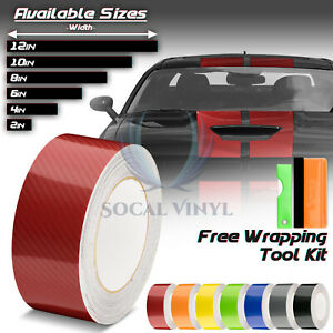 7d High Gloss Carbon Fiber Racing Stripes Vinyl Wrap Rally Sticker 10 25 50 Feet