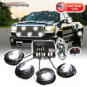 80w 4 Hid Bulbs Hide Away Emergency Warning Flash Strobe White Light System Kit