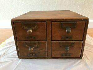 Antique Library Bureau Sole Makers Distressed 4 Drawer Card Catalog File Cabinet