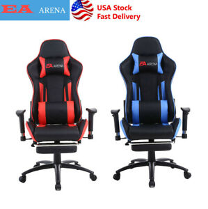 Racing Gaming Chair Ergonomic Leather Swivel Office Computer Desk Seat Footrest