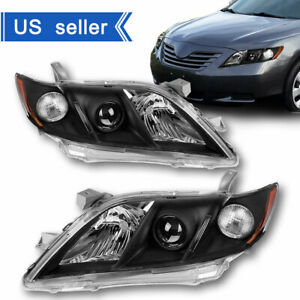 For 2007 2008 2009 Toyota Camry Black Projector Headlights Headlamp Assembly L R