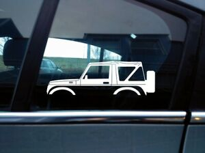 2x Car Silhouette Stickers For Suzuki Samurai Sj410 Soft Top Classic