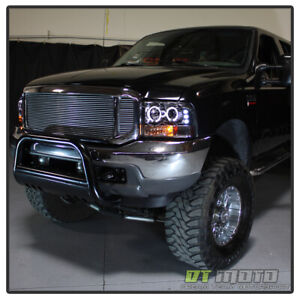 99 04 F250 F350 Excursion Halo Projector Led Headlights W built In Bumper Lights