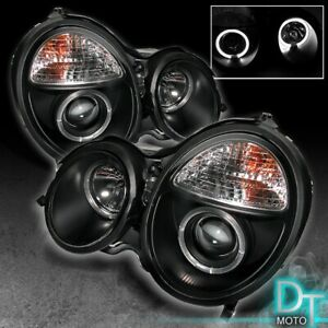 Black 2000 2002 Mercedes Benz W210 E class Halo Projector Headlights Left right