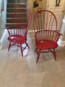 Pair Of D R Dimes Sack Back Windsor Arm Chairs