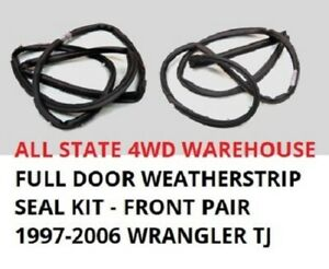 Full Door Weatherstrip Rubber Seal Set Of 2 Pair For 97 06 Jeep Wrangler Tj New