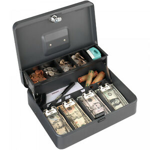 Gray Tiered Tray Steel Cash Box Key Lock 5 compartment Cantilever Cash Coin Tray
