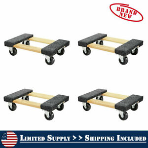 4 Pack 1000 Lb Capacity Mover Furniture Moving Dolly Swivel Casters 12 X 18
