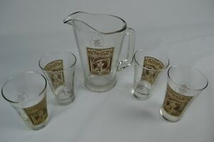 Vintage Coca Cola RARE Glass Tea Pitcher & 4 Krystal's drinking glasses