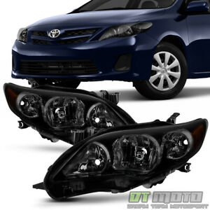 For Black Housing Smoke Lens 2011 2012 2013 Toyota Corolla Headlights Headlamps