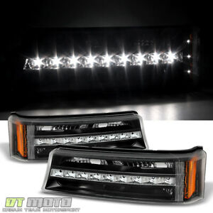 Black 2003 2006 Chevy Silverado 1500 Led Drl Bumper Lights Signal Parking Lamps