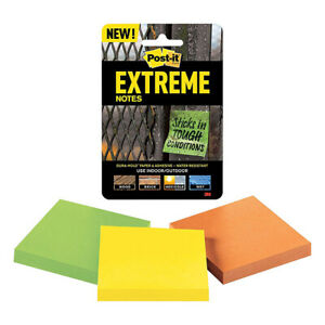 3m Extrm33 3trymx Extreme Post it Notes 3 X 3 orange Yellow And Green 3