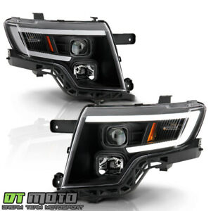 2007 2010 Ford Edge Led Tube Black Projector Headlights Headlamps Set Left Right