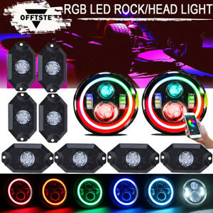 Rgb 7 Multi color Led Headlight 4x Led Rock Light Offroad Neon Lights Jeep Suv