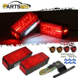 Trailer Light Kit red Rectangle Stop Turn Tail 3 4 Red amber Fender Marker wire