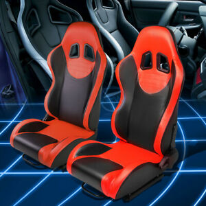 Black Red Seat Reclinable Leather Type R Sport Racing Seats W Universal Sliders