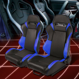 Black Blue Reclinable Pvc Leather Vertical Stitching Sport Racing Seats W Slider