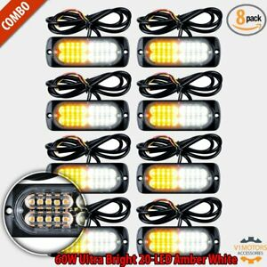 8pcs Amber white 20 led Strobe Light Flash Lamp Emergency Warn Beacon Tow Truck