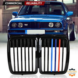 For 1982 1994 Bmw E30 325i 318is Front Hood Kidney Grill M3 Look Gloss Black