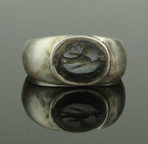 Ancient Roman Silver Intaglio Ring Mercury 2nd Century Ad