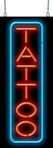 Tattoo Neon Sign Vertical Jantec 2 Sizes Piercings Body Art Ink Parlor Bar