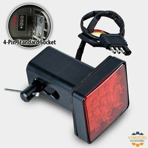 2 Red 15 Led Trailer Hitch Receiver Cover Brake Light Inserts W Plug Adapter