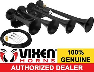 Vixen Horns Train Air Horn 4 Trumpets Black For Truck car suv Loud Sound Db 12v