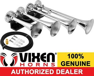 Vixen Horns Train Air Horn 4 Trumpets Chrome Plated For Truck car Loud Sound Db