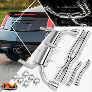 For 11 14 Cadillac Cts V 2 dr 6 2l Dual 4 5 muffler Tip Slip fit Catback Exhaust