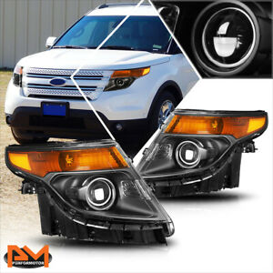 For 11 15 Ford Explorer Projector Headlight Replacement Black Housing Amber Side