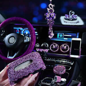 Purple Rhinestone Car Steering Wheel Cover Car Accessories For Car Decoration