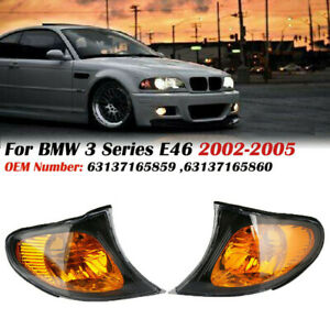 Pair Turn Signal Lamps Corner Lights For Bmw 3 Series E46 4door 02 05 Amber Lens