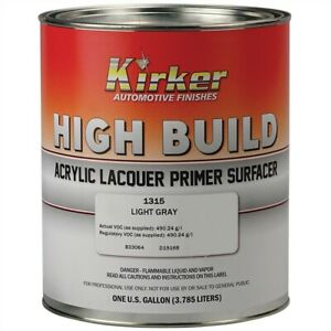 Kirker Acrylic Lacquer High Build Primer 1k Gray Gallon Usa Kp 1315