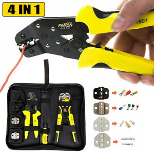4 In 1 Wire Crimpers Ratcheting Terminal Pliers Self adjusting Tool W carry Bag