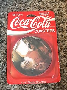 COCA-COLA Coasters new sealed circa 1992 Santa collectible made in USA Christmas