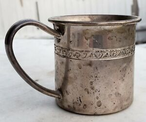 Estate Lunt Sterling Silver Baby Cup Mug With Ornate Scroll Band No Monos 925