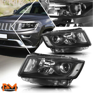 For 14 16 Jeep Grand Cherokee Projector Headlight lamp Black Housing Clear Side