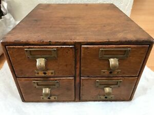 Antique Library Bureau Sole Makers 4 Drawer Card Catalog File Cabinet