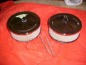 Pair 2 Tunnel Ram Cross Ram Dual Four Air Cleaners Custom Wing Nuts Rat Rod