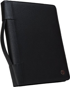 Zippered Padfolio With Removable 3 ring Binder And Letter Size Writing Pad Black