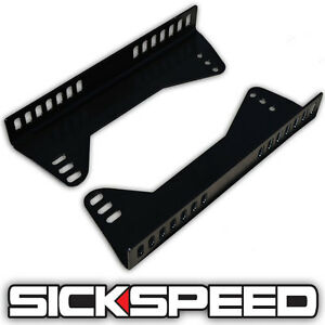 Side Mount Steel Seat Brackets For Racing Seats 90 Degree Adjustable P1 Black