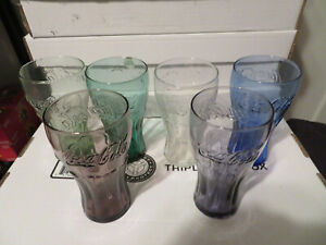 (6) DIFFERENT VINTAGE COKE COCA COLA COLORS GLASSES - GREAT SHAPE  LOOK