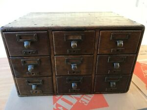 Antique Library Bureau Sole Makers 9 Drawer Card Catalog File Cabinet
