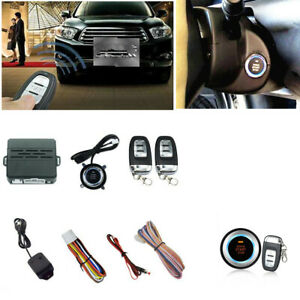 Car Alarm System Security 2 Remotes Keyless Entry Engine Start Push Button Kit