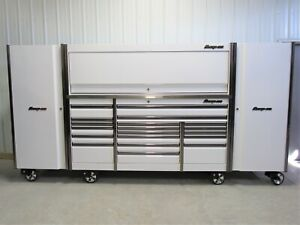 Snap On White 84 Epiq Tool Box Stainless Steel Top Hutch 2 Xfull Size Lockers