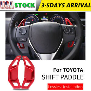 Red Steering Wheel Shift Paddle Shifter Extension For Toyota Camry Corolla Reiz