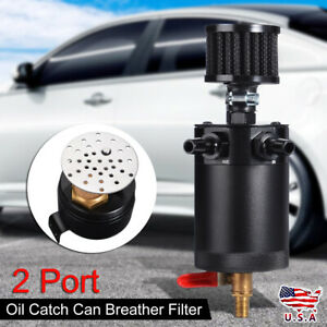 Universal Oil Catch Can 2port Petrol Tank Reservoir Drain Valve Breather Baffled