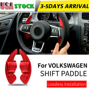 Red Steering Wheel Shift Paddle Shifter Extension For Vw Volkswagen Golf 6 Cc