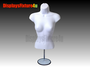 Female Mannequin Form Stand trade Show Torso Display Women Dress Shirt White